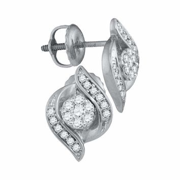 14kt White Gold Women's Round Diamond Flower Cluster Screwback Stud Earrings 1-4 Cttw - FREE Shipping (USA/CAN)
