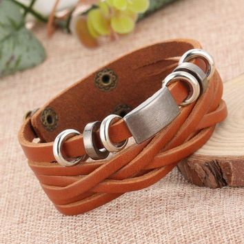 ONETOW Retro personality male street shoot leather necklace men braided multi-layer bracelet