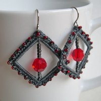 Gray and Red Square earrings, fancy lace earrings, girlfriend valentin's day gift