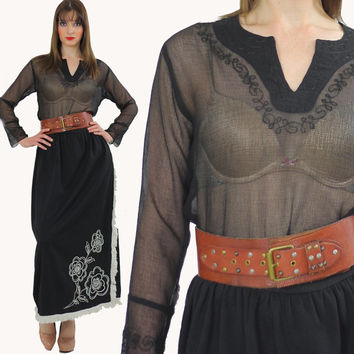 Boho Top Black Sheer top Hippie top Blouse Peasant Blouse Embroidered Floral Top Black Goth top Blouse Gypsy Blouse