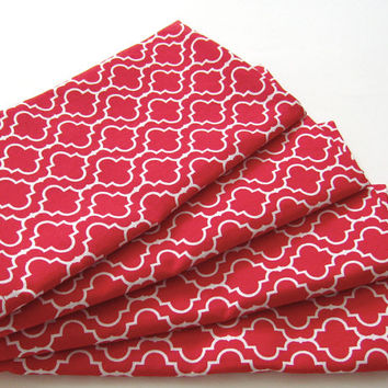 Cloth Napkins - Set of 4 - Red - Dinner, Table, Everyday, Wedding