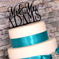 KEEPSAKE TOPPER: Personalized Custom Mr and Mrs Wedding Cake Topper with YOUR Last Name With Removable Stakes