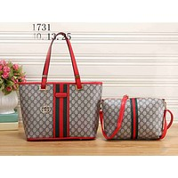 Gucci Fashion Women Leather Shoulder Bag Satchel Tote Handbag Crossbody Set Two Piece Red I-KSPJ-BBDL
