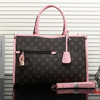 LV Louis Vuitton Fashion Women Print Leather Shoulder Bag Satchel Crossbody Pink I