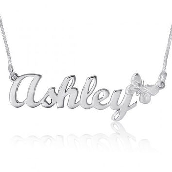 Necklace with name Silver name Pendant Chain cursive Name Necklace Pendant with name on necklace name pendant silver nameplate chain