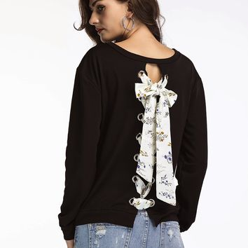 Black Long Sleeve Openwork T Shirt