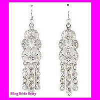 Sparkly  Crystal Chandelier Bridal Earrings On Silver Tone Vintage look