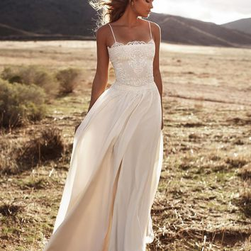 Vintage Lace 2017 Lurelly Beach Wedding Dresses Spaghetti A-line Chiffon Floor Length Bridal Dresses Simple Cheap Wedding Gowns