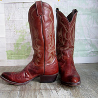 Vintage Lizard Skin Justin Cowboy boots ~ 7D mens convert to a Womens 8 1/2 or 9 Western Boho