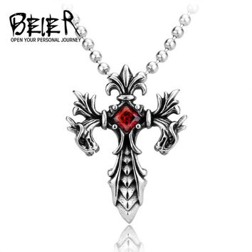 Red stone Dragon Cross Pendant Necklace