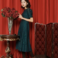 [OH.L] PUFF SHOULDER BUTTON LACE DRESS_BLUISH GREEN