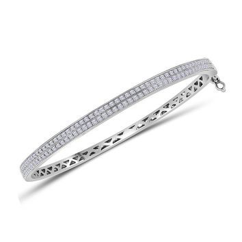 14kt White Gold Womens Round Diamond Double Row Bangle Bracelet 1.00 Cttw
