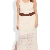 Plus Size Crochet Maxi Dress with Illusion Short Skirt
