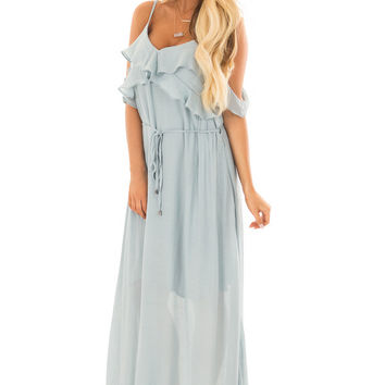 Sky Blue Maxi Dress with Ruffle Cold Shoulders and Waist Tie