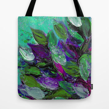 BLOOMING BEAUTIFUL 1 - Floral Painting Mint Green Seafoam Purple White Leaves Petals Summer Flowers Tote Bag by EbiEmporium