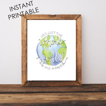 Nursery printable, INSTANT PRINTABLE, christian wall art, wall art prints, art prints, globe art, hand lettering, baby room decor