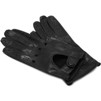 Women's Black Leather Napoli Driving Gloves