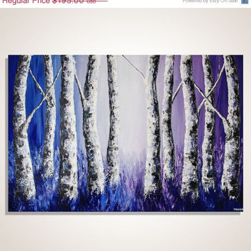 Valentines Day Sale Royal blue Sapphire and violet Birch tree painting Landscape painting Modern art purple and blue painting on canvas Sale