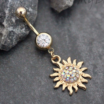 Flaming Sun Belly Ring
