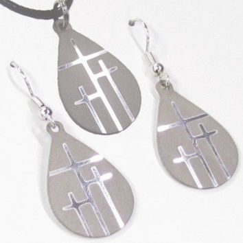 Silver Tiny Teardrop Calvary 3 Cross Earrings and Cross Necklace Set - Saint Michaels Jewelry - Calvary Three Cross