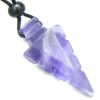 Arrowhead Magic Amulet Amethyst Crystal Point Lucky Charm Pendant Necklace