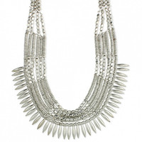 """Zad Silver Spike Ethnic Necklace, 16-18"""" long"""