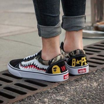 Vans Bape Aape Shark tooth Old Skool Custom Low Sneakers Convas Casual Shoes I-FEU-SY