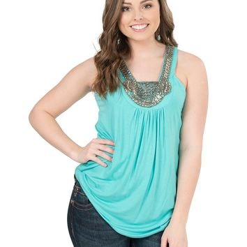 Rock & Roll Cowgirl Women's Turquoise with Silver Beaded Neckline Sleeveless Fashion Top