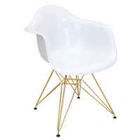 Mid Century Modern Neo Flair Accent Chair In White and Gold | Overstock.com Shopping - The Best Deals on Living Room Chairs
