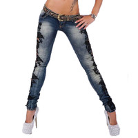 Fashion Skinny Jeans Women 2016 Hot Sale Slim Crochet Lace Denim Jeans Hollow Out Ladies Pencil Pants Boyfriend Jeans For Women