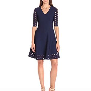 Milly Women's Diamond Pointelle Flare Dress