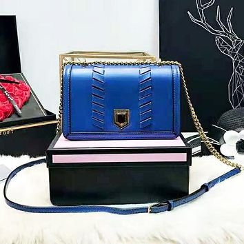 Michael Kors MK High Quality Fashion New Leather Shoulder Bag Women Blue