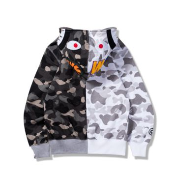 Thin section pink camouflage color sweater Shark Hoodies long-sleeved jacket sweater student personality
