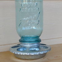 Mason Jar Vintage Blue Ball Mason Jar Chicken Feeder Bird Feeder Storage Jar