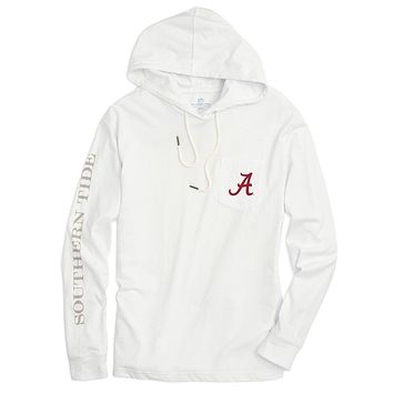 University of Alabama Long Sleeve Gameday Hoodie Tee in White by Southern Tide