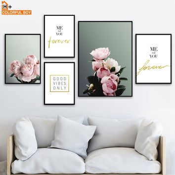 Pink Flower Inspirational Quotes Wall Art Canvas Painting Nordic Posters And Prints Wall Pictures For Living Room Bedroom Decor