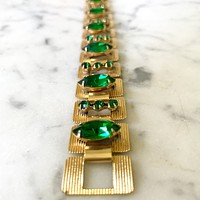 1960s Gold and Emerald Color Bracelet