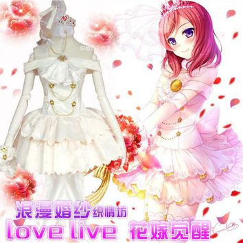 ac NOOW2 Anime Nishikino Maki Love Live Lolita White Wedding dress Cosplay Costume