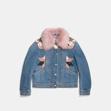 Quilted Patchwork Denim Jacket