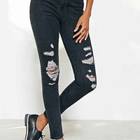 Light Before Dark Super High-Rise Skinny Ripped Jean - Black- Black