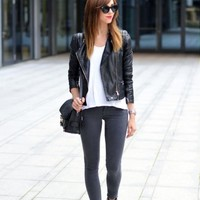 Black Biker Leather Jacket | SPREDFASHION