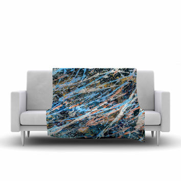 "Bruce Stanfield ""Cobalt One"" Blue Abstract Fleece Throw Blanket"