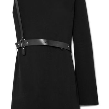 Helmut Lang - One-shoulder belted crepe mini dress
