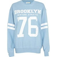 Blue Brooklyn athletic 76 print sweatshirt