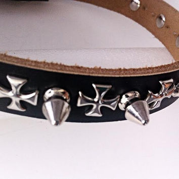 Spiked  Black Genuine Leather Dog Collar with Silver Cross Detail - Medium Studded