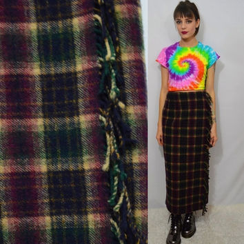 90s Plaid Skirt Small Med Preppy Hipster Blanket Winter Wool Vintage Womens Clothing Lined Long Skirt Ankle Length 1990s