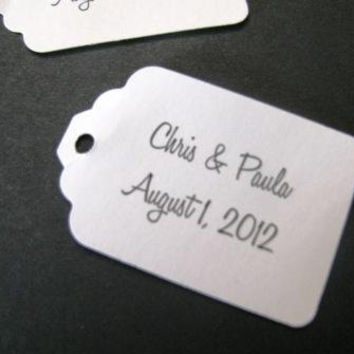 100 Personalized text Medium size tag- your choice font and card stock color