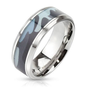 Camo Ammo - FINAL SALE Blue camouflage inlaid beveled edge stainless steel ring