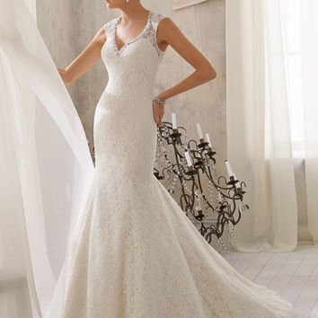 Mori Lee Lace 5214 wedding gown with illusion back, Ivory Size 14