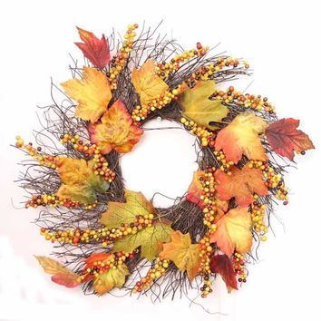 30/40/50cm Halloween Pumpkin Berry Maple Leaf Fall Door Wreath Door Wall Ornament Thanksgiving Day Decoration 5O921